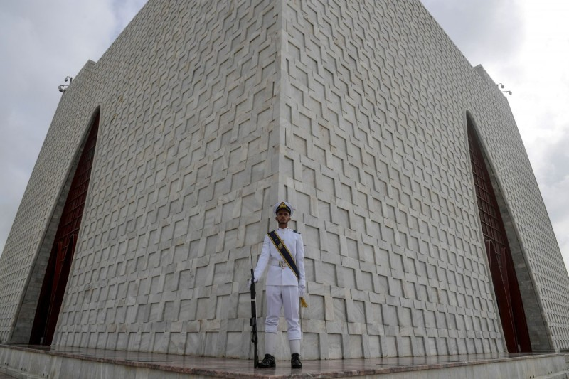 A Pakistan Navy soldier stands at the mausoleum of Muhammad Ali Jinnah, the country's founder, during Independence Day celebrations in Karachi on Aug. 14.