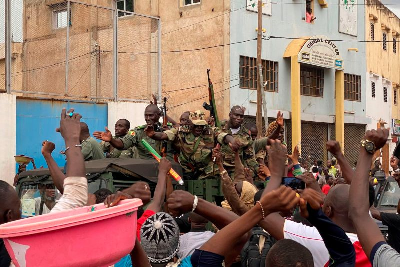 Malian soldiers in the capital of Mali after a military coup.