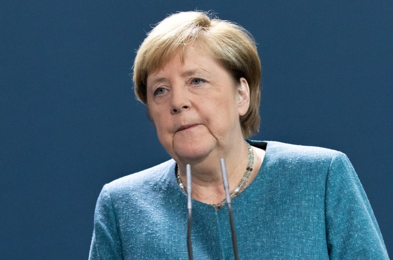 German Chancellor Angela Merkel delivers a statement on Russian opposition activist Alexei Navalny's case on Sept. 2 in Berlin, Germany. Navalny has been treated  in Berlin since Aug. 22.