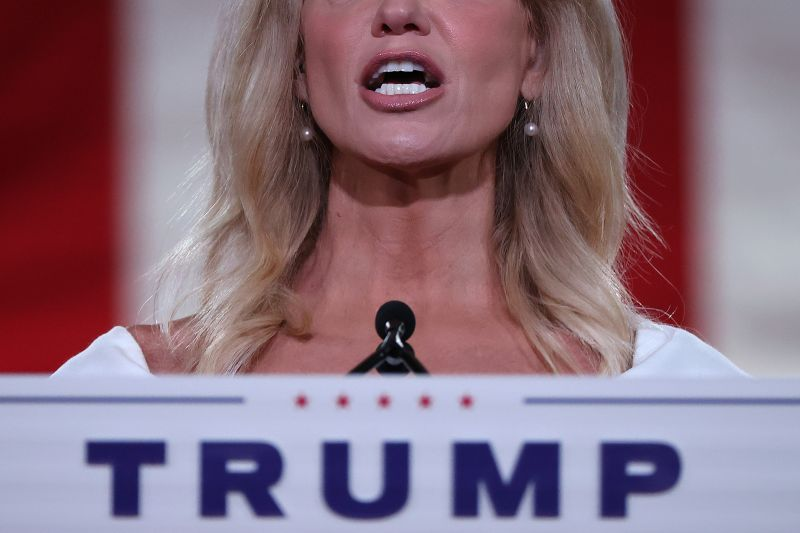 White House Counselor to the President Kellyanne Conway pre-records her address to the Republican National Convention in the empty Mellon Auditorium in Washington, DC, on Aug. 26.