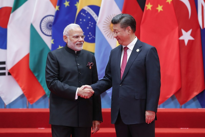 Chinese President Xi Jinping shakes hands with Indian Prime Minister Narendra Modi at the G20 Summit on September 4th, 2016, in Hangzhou, China.