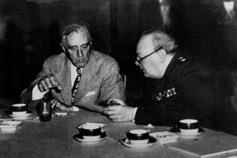 President Franklin Delano Roosevelt and British Prime Minister Sir Winston Churchill, meeting during the Casablanca conference, preparing the Normandy and Italy landing, which lasted from Jan. 14 to 24, 1943.