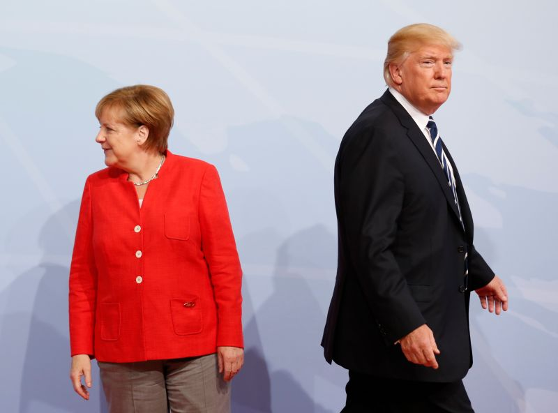 German Chancellor Angela Merkel and U.S. President Donald Trump at the G-20 summit in Hamburg, Germany, on July 7, 2017.