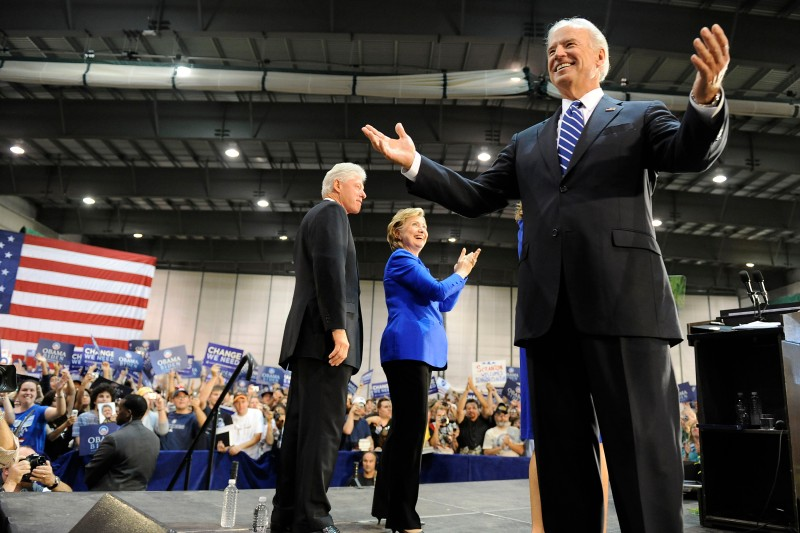 Bill Clinton, Hillary Clinton, and Joe Biden  greet supporters at a rally on Oct. 12, 2008 in Scranton, Pennsylvania.