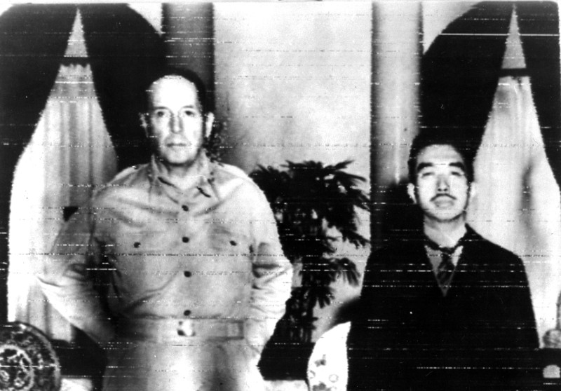 General Douglas MacArthur and Japan's Emperor Hirohito in 1945, a few weeks after Japan's surrender on September 2, 1945.