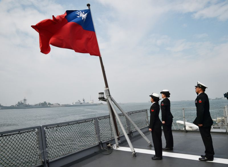Taiwanese sailors on the deck of a supply ship after taking part in military drills at the Tsoying naval base in Kaohsiung, Taiwan, on Jan. 31, 2018.