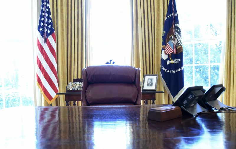 The Resolute desk as U.S. President Donald Trump and Israel Prime Minister Benjamin Netanyahu meet in the Oval Office of the White House  March 5, 2018 in Washington.