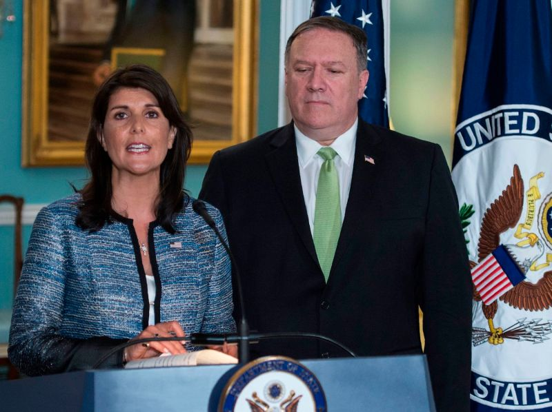 Then-U.N. Ambassador Nikki Haley and Secretary of State Mike Pompeo speak in Washington.