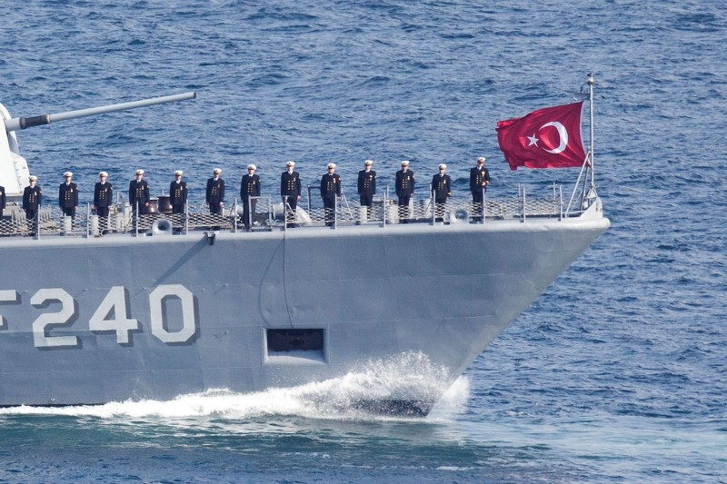 Sailors standing on the deck of a warship at a parade during the Turkish International Ceremony at Mehmetcik Abidesi Martyrs Memorial near Seddulbahir Turkey on April 24, 2015.