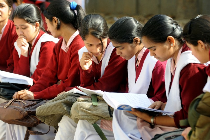 Indian schoolchildren prepare for their Central Board of Secondary Education senior school certificate examinations in New Delhi on March 1, 2012.