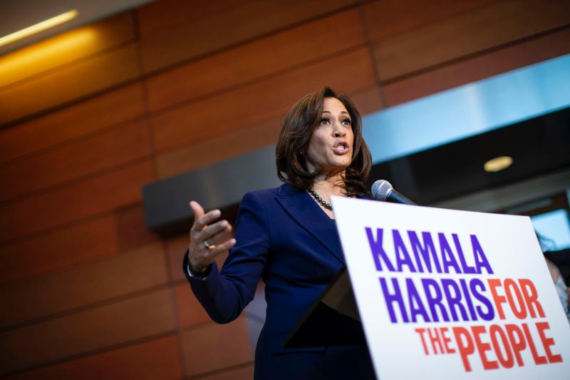 U.S. Sen. Kamala Harris speaks to reporters after announcing her candidacy for president of the United States at Howard University in Washington, D.C., on Jan. 29, 2019.