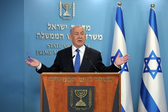 Israeli Prime Minister Benjamin Netanyahu gives a press conference on a deal to normalize relations with the United Arab Emirates in Jerusalem on Aug. 13.