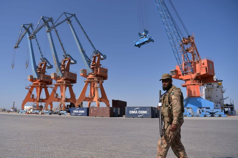 A Pakistan Army personnel looks on during the opening of a trade route project at the Gwadar port in Pakistan on Nov. 13, 2016.