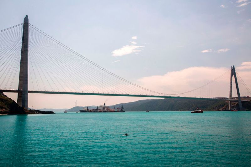 The Pioneering Spirit vessel, which will carry out construction of the offshore section of the Turkish Stream natural gas pipeline, passes the Yavuz Sultan Selim Bridge on the Bosporus in Istanbul on May 31, 2017.