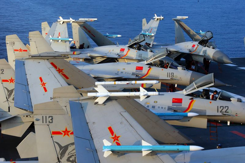 An undated photo taken in April 2018 shows J15 fighter jets on China's sole operational aircraft carrier, the Liaoning, during a drill at sea.