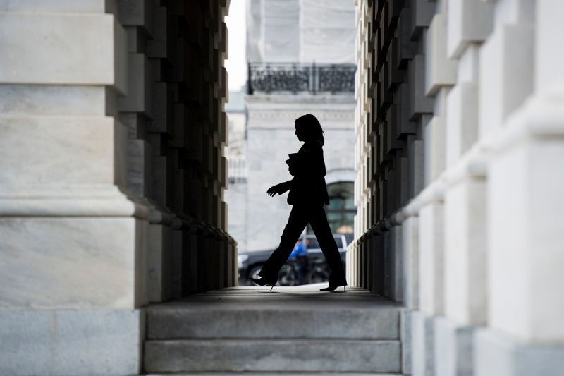 Sen. Kamala Harris leaves the Capitol after the conclusion of Senate impeachment trial proceedings on Feb. 3.