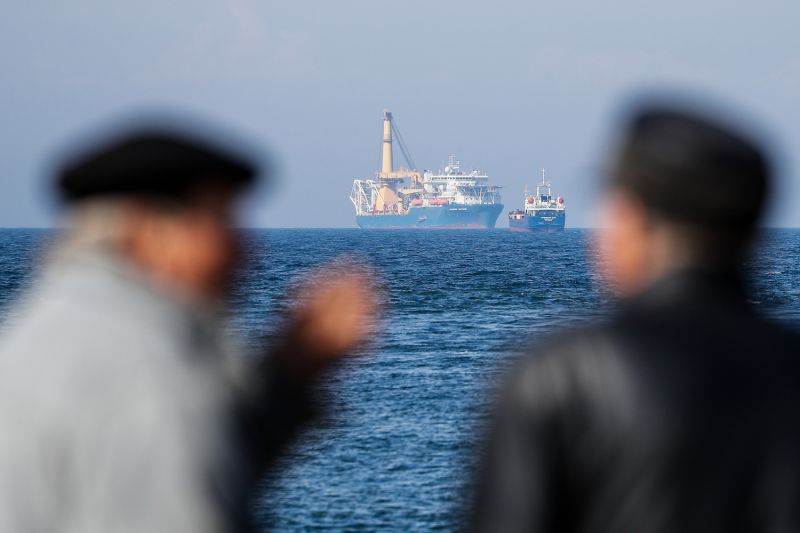 The Akademik Cherskiy pipe-laying vessel is seen in the Gulf of Gdansk in the Baltic Sea on May 4. According to Russia's energy minister, the ship could be involved in the construction of the Nord Stream 2 pipeline.