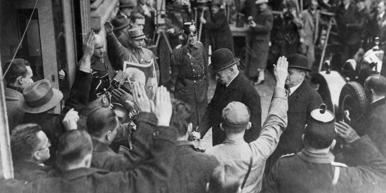 The second president of the Weimar Republic, Paul von Hindenburg, leaves a polling station in Berlin after voting in the German general election in March 1933.