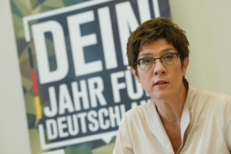 German Defense Minister Annegret Kramp-Karrenbauer speaks to the media to present the Bundeswehr's new volunteer service program on July 23, in Berlin.