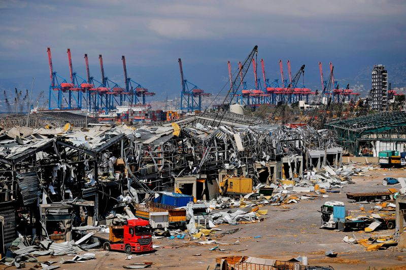 The destruction at Beirut's port on Aug 10 after the huge chemical explosion that devastated the Lebanese capital.