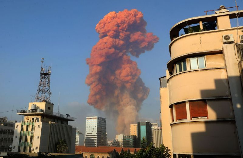 A picture shows the scene of an explosion in Beirut, Lebanon.