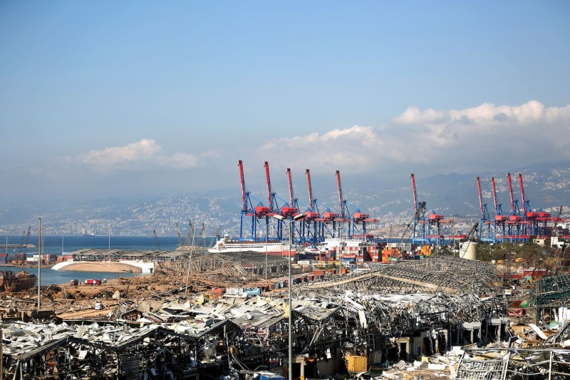 A picture shows the destruction at Beirut port in the aftermath of a massive explosion.