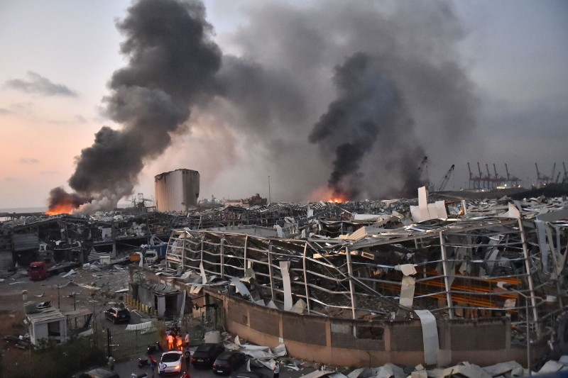 A general view of the scene of an explosion at the port of Lebanon's capital of Beirut.