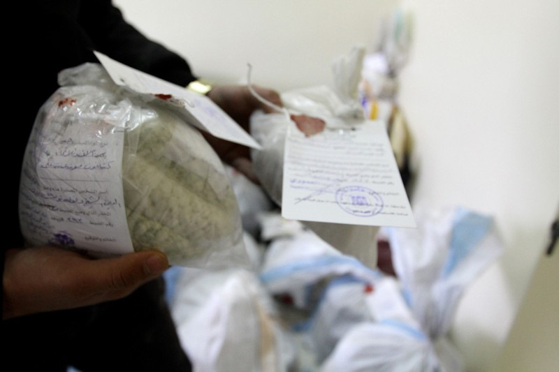 Syrian police show seized drugs and Captagon pills in Damascus on Jan. 4, 2016.