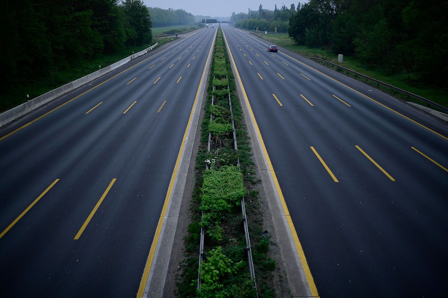 The nearly empty A3 highway near Leverkusen, western Germany, on April 19 amid the pandemic.