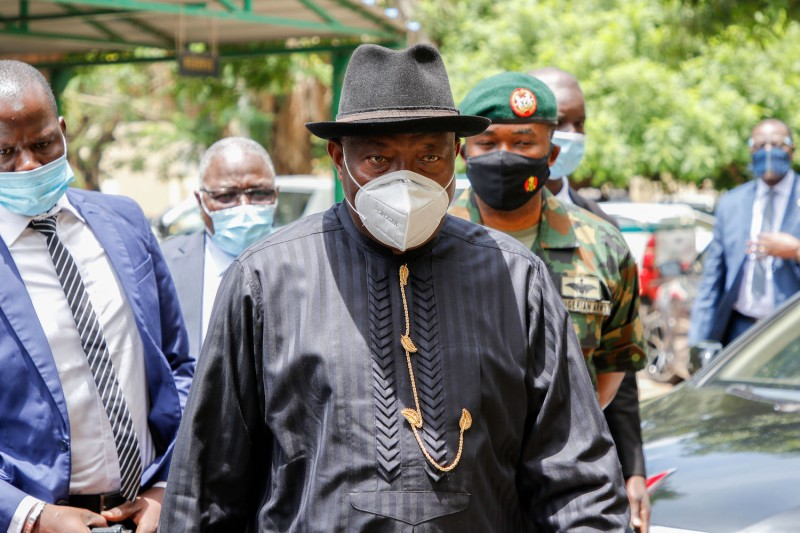 ECOWAS mediator and former Nigerian President Goodluck Jonathan arrives to lead talks with West African envoys and Mali's military junta on Aug. 24 in Bamako, Mali.