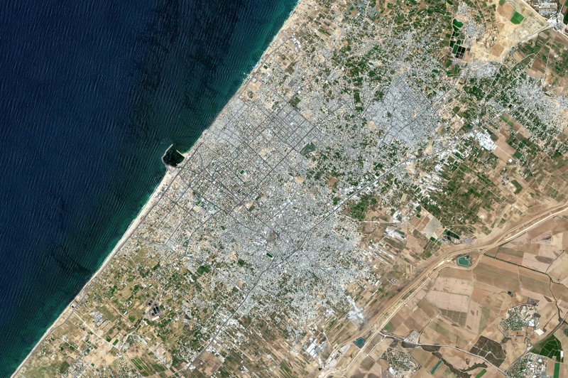 A satellite image shows Gaza City and the Jabalia Refugee Camp in the northern Gaza Strip on July 10, 2018.