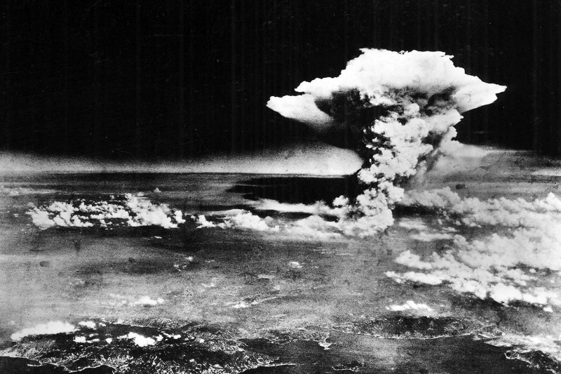 "An aerial photo shows the explosion over Hiroshima, Japan, on Aug. 6, 1945, shortly after the ""Little Boy"" atomic bomb was dropped."
