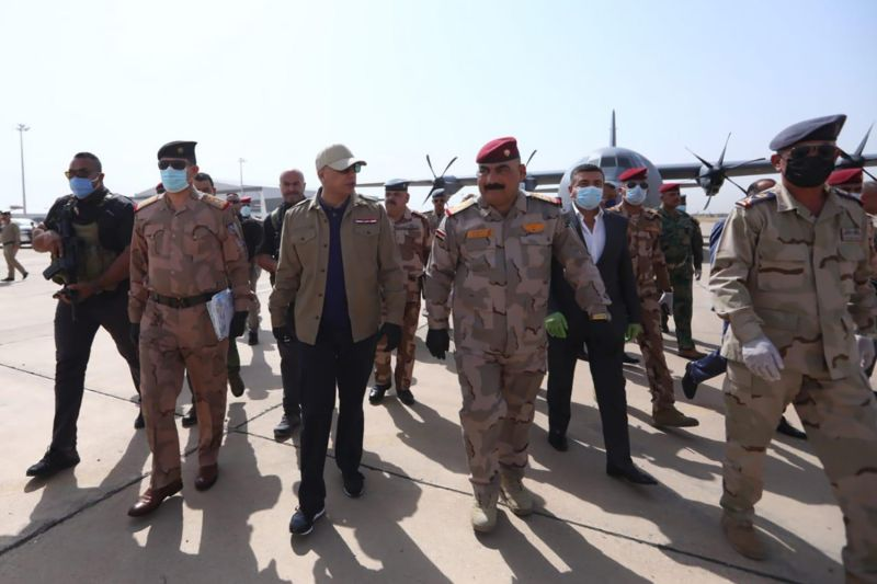Iraqi Prime Minister Mustafa al-Kadhimi visits Kirkuk to follow operations against the Islamic State on June 2.
