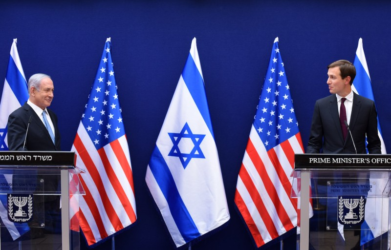 Israeli Prime Minister Benjamin Netanyahu and U.S. Presidential Senior Adviser Jared Kushner make joint statements to the press after their meeting.