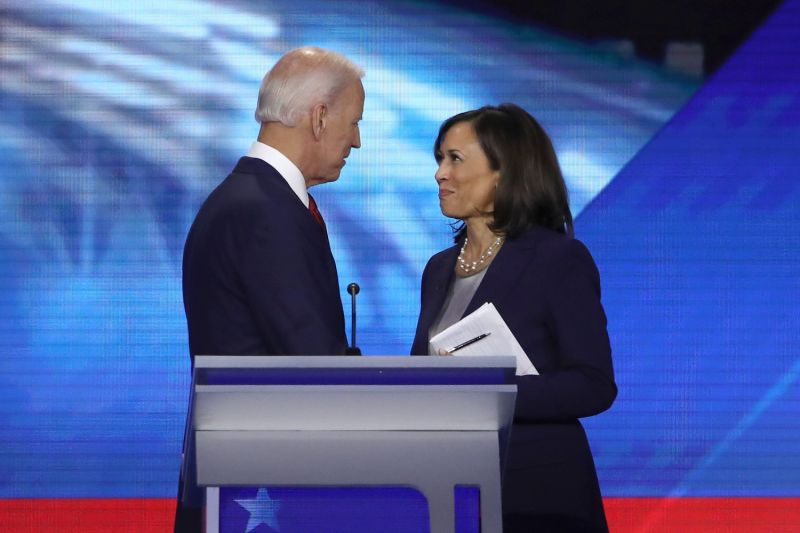 Former Vice President Joe Biden and Sen. Kamala Harris speak.