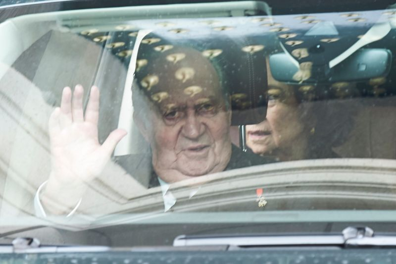Former King Juan Carlos I attends a Mass in occasion of the 25th anniversary of death of his father on April 3, 2018 in El Escorial, Spain.