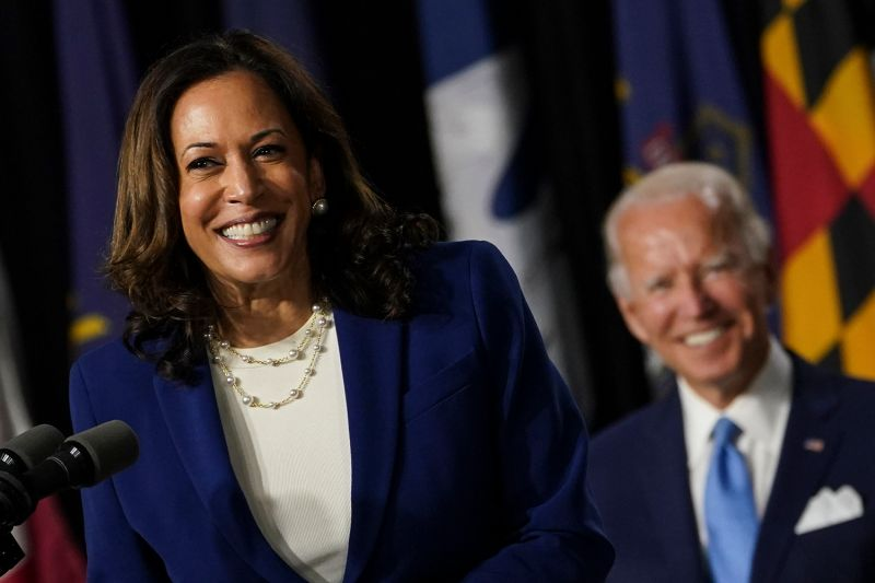 Sen. Kamala Harris smiles after being introduced by presumptive Democratic presidential nominee Joe Biden as his running mate during an event in Wilmington, Delaware., on Aug. 12.