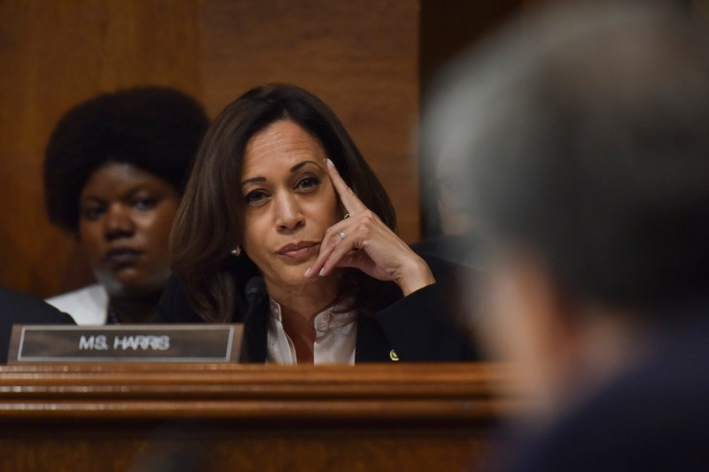 Senator Kamala Harris questions Attorney General William Barr as he testifies in Washington on May 1, 2019, during the hearing to discuss the investigation into Russian interference in the 2016 presidential election.