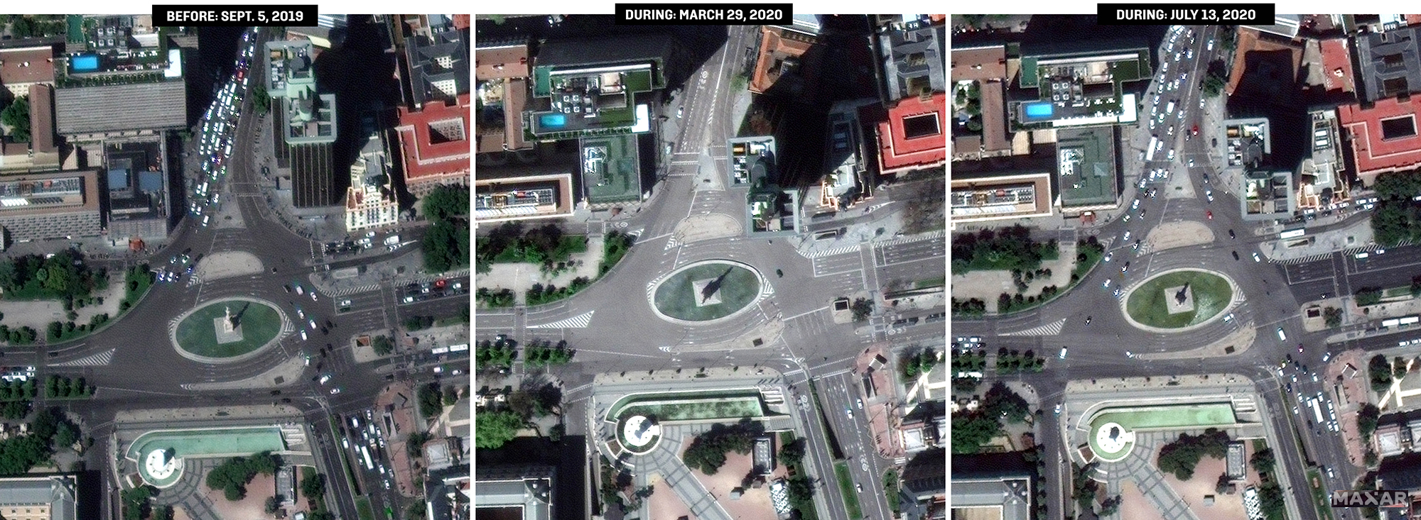 Satellite images show traffic on Paseo de la Castellana in downtown Madrid before the pandemic, soon after the lockdown began, and in July as traffic ticked up again.