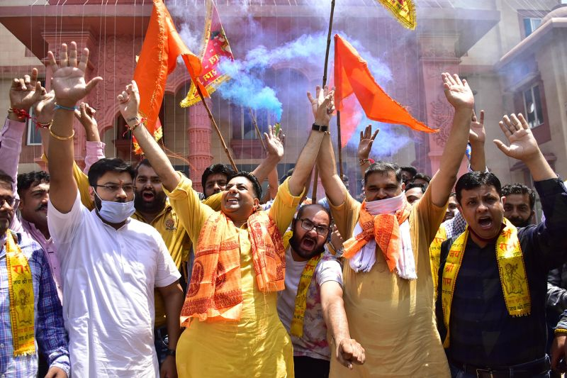 Activists celebrate at the temple foundation laying ceremony on Aug. 5 in Ayodhya, India.
