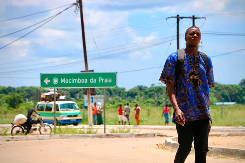 A man walks by the main entrance to the city on March 8, 2018 in Mocimboa da Praia, Mozambique.