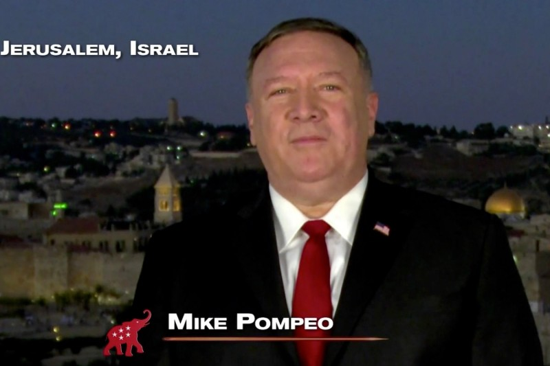U.S. Secretary of State Mike Pompeo addresses the virtual Republican convention in a pre-recorded video from Jerusalem, Israel, on Aug. 25.