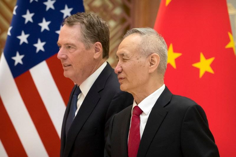 U.S. Trade Representative Robert Lighthizer talks to Chinese Vice Premier Liu He in Beijing, China, on Feb. 15, 2019.