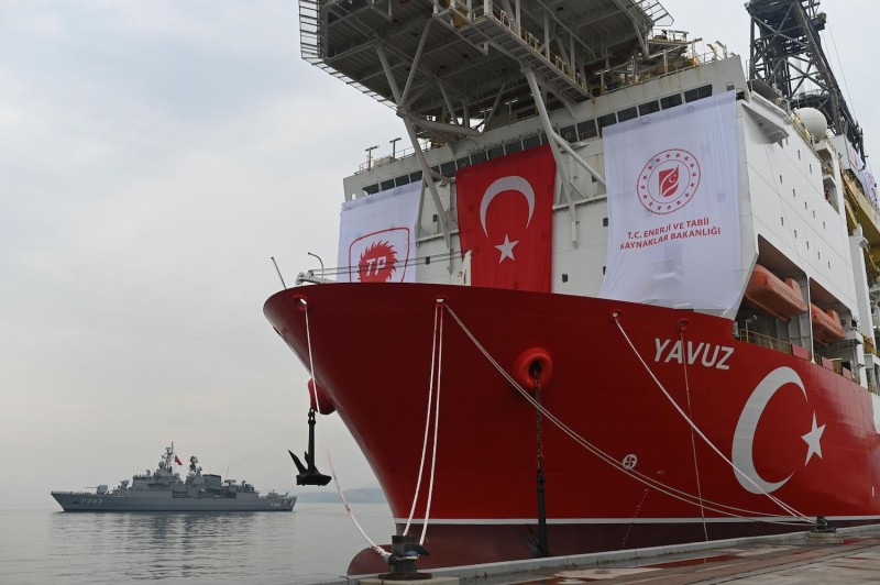 The Turkish drilling ship Yavuz, scheduled to search for oil and gas off Cyprus, next to a warship at the port of Dilovasi outside Istanbul, Turkey, on June 20, 2019.