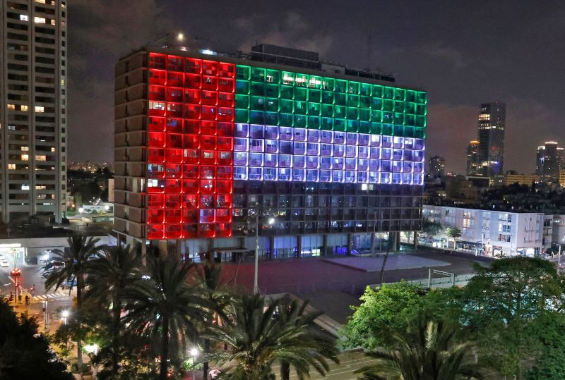 Tel Aviv's city hall is lit up in the colors of the United Arab Emirates' national flag on Aug. 13.