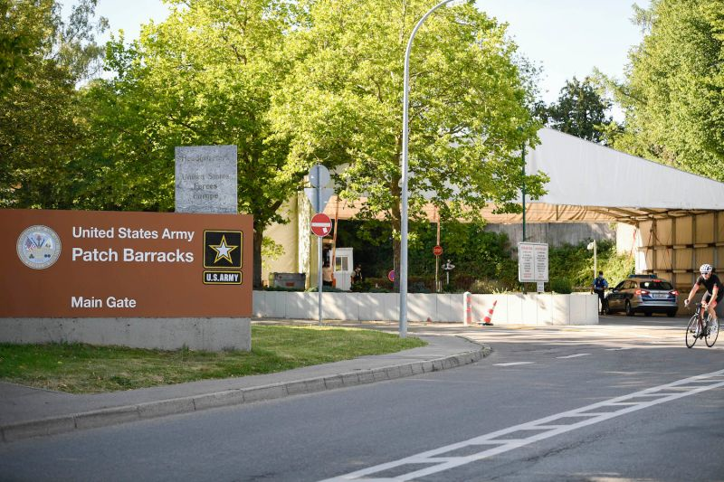 The main gate of the United States European Command headquarters at the Patch Barracks.