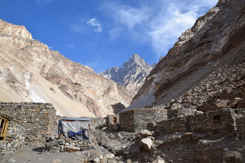 A view of a mostly deserted lapis lazuli mining encampment in the Afghan province of Badakhshan on Oct. 16, 2016.