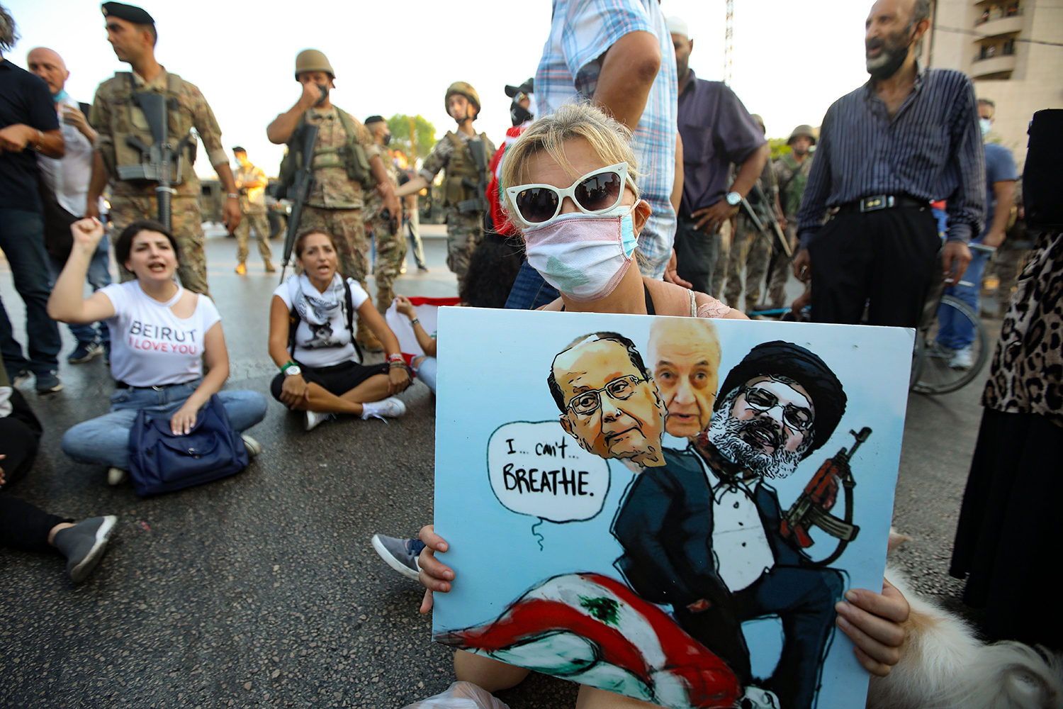A Lebanese anti-government protester