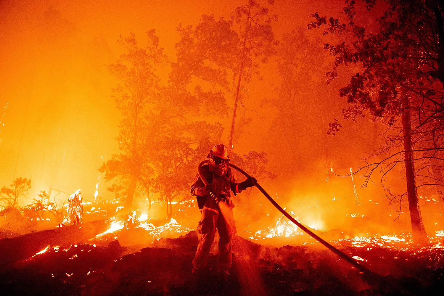 A firefighter douses flames as the Creek Fire pushes toward homes in the Cascadel Woods area of Madera County, California, on Sept. 7. JOSH EDELSON/AFP via Getty Images