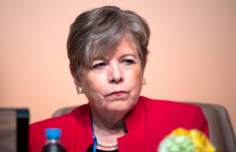 Alicia Barcena, chief of the United Nations Economic Committee for Latin America and the Caribbean (ECLAC), attends a panel during the U.N. Global Compact for Migration in Marrakesh in 2018.
